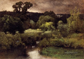 Inness Canvas - A Gray Lowery Day landscape Tonalist George Inness river