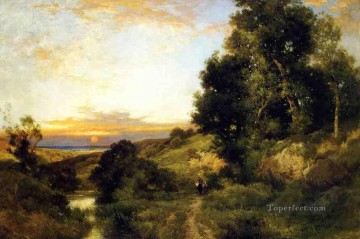 A Late Afternoon in Summer landscape Thomas Moran river Oil Paintings