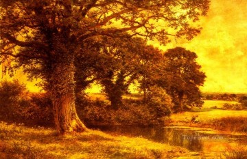 A Woodland Pool landscape Benjamin Williams Leader brook Oil Paintings