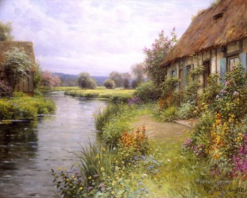 A bend in the river landscape Louis Aston Knight Oil Paintings