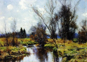 Landscapes Painting - Autumn Stream Landscape trees