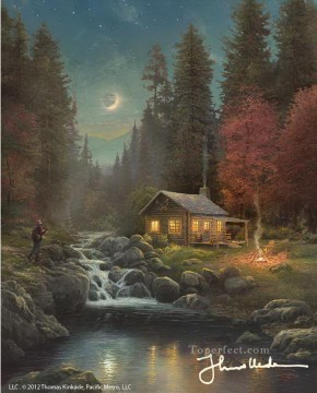 Away From It All Thomas Kinkade Landscapes brook Oil Paintings