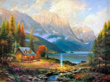 outdoor landscape landscapes scenery scenes impasto kinkade venice seascape street Painting - Beginning Of A Perfect Day Thomas Kinkade Landscapes brook