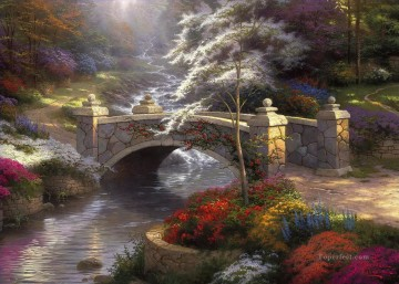 Bridge of Hope Thomas Kinkade Landscapes brook Oil Paintings