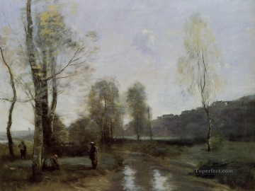 Canal in Picardi Jean Baptiste Camille Corot brook Oil Paintings