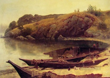 Canoes Albert Bierstadt Landscapes brook Oil Paintings