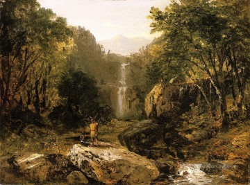 cat cats Painting - Catskill Mountain Scenery John Frederick Kensett Landscapes brook