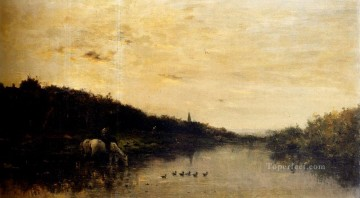 Chevaux Au Bord De L Oise Barbizon Impressionism landscape Charles Francois Daubigny brook Oil Paintings
