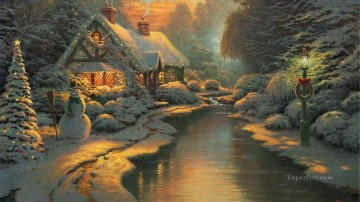 Christmas Evening Thomas Kinkade Landscapes brook Oil Paintings