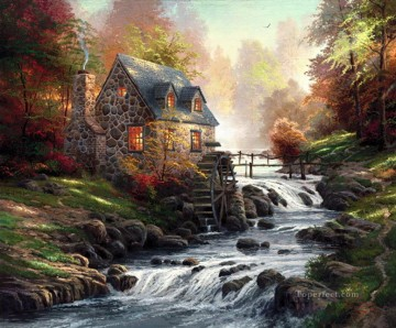 Cobblestone Mill Thomas Kinkade Landscapes brook Oil Paintings