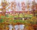 Cows by the Stream Impressionist Indiana landscapes Theodore Clement Steele