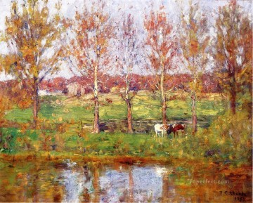 Indiana Oil Painting - Cows by the Stream Impressionist Indiana landscapes Theodore Clement Steele
