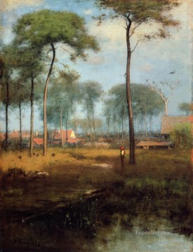 Inness Canvas - Early Morning Tarpon Springs landscape Tonalist George Inness brook
