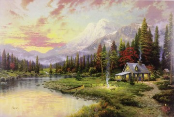 Evening Majesty Thomas Kinkade Landscapes brook Oil Paintings
