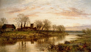 Evening On The Thames At Wargrave landscape Benjamin Williams Leader brook Oil Paintings