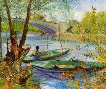 Fishing in the Spring Vincent van Gogh Landscapes brook Oil Paintings