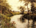 Flowers In Bloom By A River landscape Louis Aston Knight