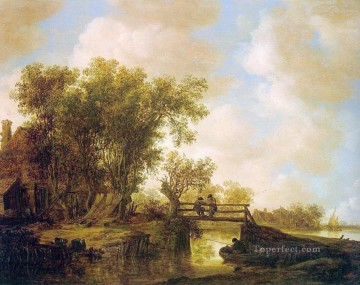 Footbridge landscapes Jan van Goyen brook Oil Paintings