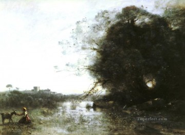 French Le Marais Au Grand Arbre Jean Baptiste Camille Corot brook Oil Paintings