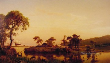 Gosnold at Cuttyhunk Albert Bierstadt Landscapes brook Oil Paintings