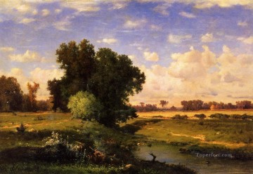 Hackensack Meadows Sunset landscape Tonalist George Inness brook Oil Paintings