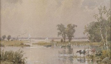 Meadow Art - Hackensack Meadows landscape Jasper Francis Cropsey brook