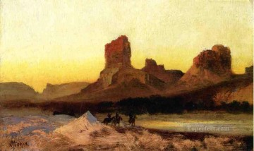 mountains Canvas - Indians at the Green river landscape Rocky Mountains School Thomas Moran