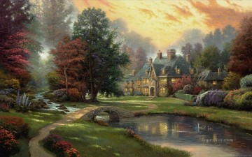Lakeside Manor Thomas Kinkade Landscapes brook Oil Paintings