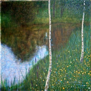 Lakeside with Birch Trees Gustav Klimt Landscapes brook Oil Paintings