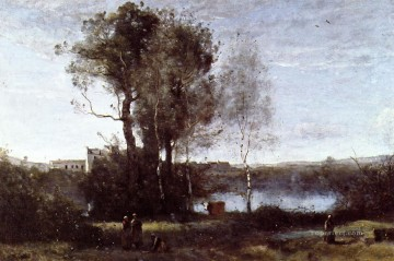 Large Sharecropping Farm Jean Baptiste Camille Corot brook Oil Paintings
