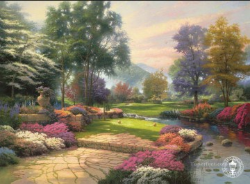 golf Oil Painting - Living Waters Golfer Paradise Hole One Thomas Kinkade Landscapes brook