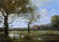 Meadow with Two Large Trees Jean Baptiste Camille Corot brook