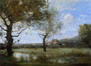 Meadow with Two Large Trees Jean Baptiste Camille Corot brook Oil Paintings