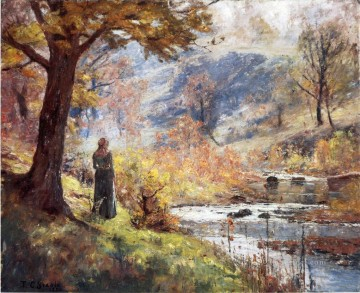 Indiana Painting - Morning by the Stream Impressionist Indiana landscapes Theodore Clement Steele