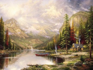 outdoor landscape landscapes scenery scenes impasto kinkade venice seascape street Painting - Mountain Majesty Thomas Kinkade Landscapes brook