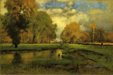 Inness Canvas - October landscape Tonalist George Inness brook