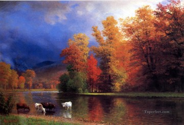 On the Saco Albert Bierstadt Landscapes brook Oil Paintings