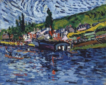 Artworks in 150 Subjects Painting - Regattas in Bougival Maurice de Vlaminck river landscape
