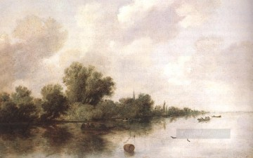 River Scene1 landscape Salomon van Ruysdael Oil Paintings