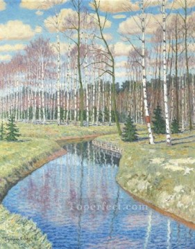 SPRINGTIME Nikolay Bogdanov Belsky river landscape Oil Paintings
