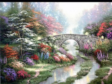 still Canvas - Stillwater Bridge Thomas Kinkade Landscapes brook