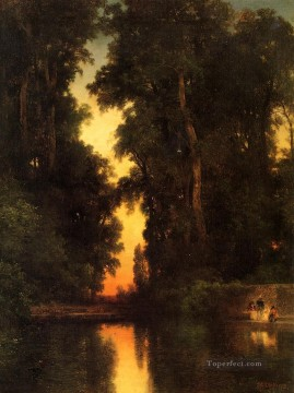 The Borda Gardens Mexico landscape Thomas Moran brook Oil Paintings