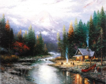 The End Of A Perfect Day II Thomas Kinkade Landscapes brook Oil Paintings