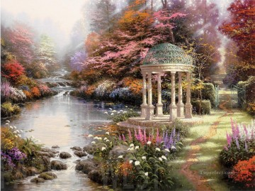 The Garden Of Prayer Thomas Kinkade Landscapes brook Oil Paintings