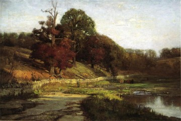 Indiana Painting - The Oaks of Vernon Impressionist Indiana landscapes Theodore Clement Steele brook