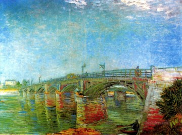 asnieres oil painting - The Seine Bridge at Asnieres Vincent van Gogh Landscapes stream