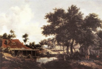 The Water Mill 1663 landscape Meindert Hobbema stream Oil Paintings