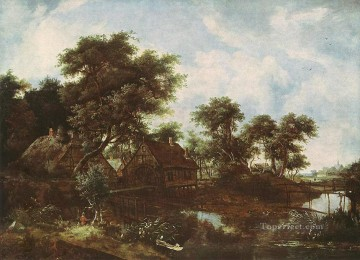 Brook River Stream Painting - The Water Mill Oak Dresden landscape Meindert Hobbema stream