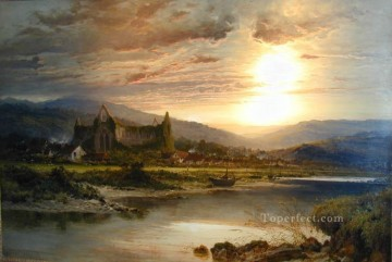 Tintern Abbey landscape Benjamin Williams Leader stream Oil Paintings