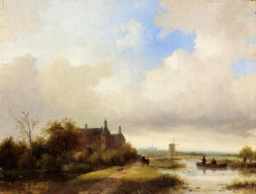 Travellers On A Path Haarlem In The Distance boat Jan Jacob Coenraad Spohler Landscapes stream Oil Paintings